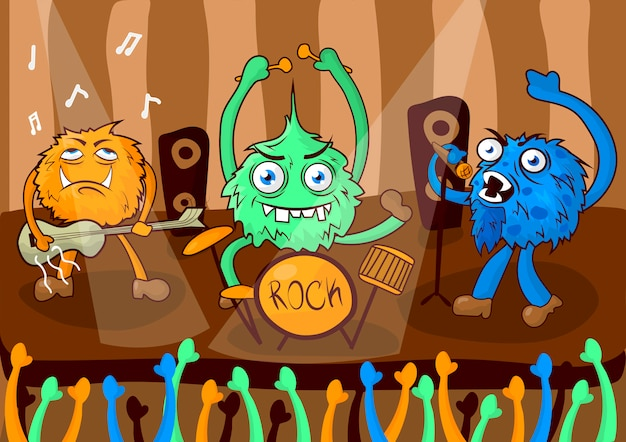 Banda de música de concerto de rock de monstros de desenhos animados