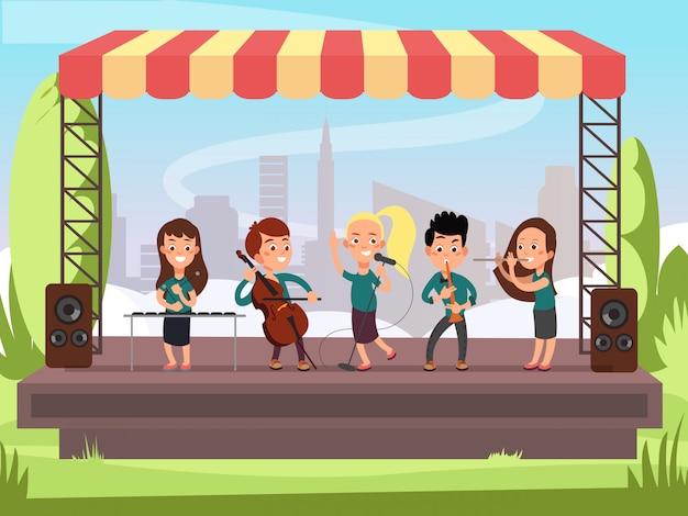 Banda de música de crianças tocando no palco em ilustração vetorial festival ao ar livre