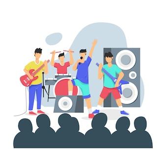 Banda de música executa no palco na frente de uma ilustração da multidão