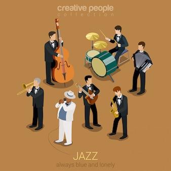 Banda de música jazz plana isométrica, ilustração pessoas tocando em instrumentos azuis cena concerto.