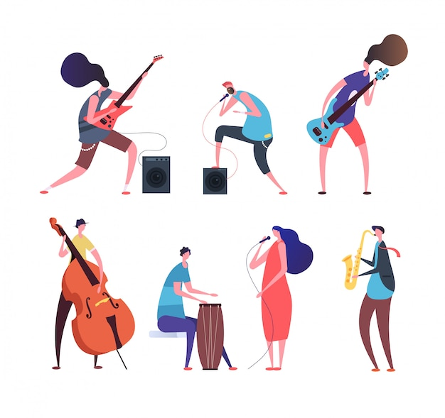 Banda de musica. músicos dos desenhos animados, caras punk com instrumentos musicais tocando música rock no palco isolado