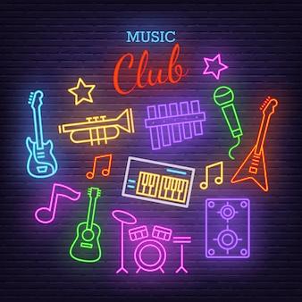 Banda de música neon ícones