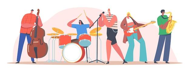 Banda de música no palco. apresentando concerto de rock na cena. artistas personagens com instrumentos musicais cantando música de rock, guitarra, contrabaixo e saxofonista acompanham. ilustração em vetor desenho animado