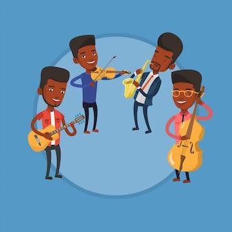 Banda de músicos tocando em instrumentos musicais.