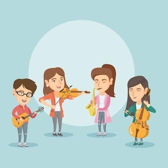 Banda de músicos tocando instrumentos musicais.