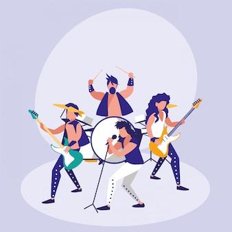 Banda de personagem de avatar de rock