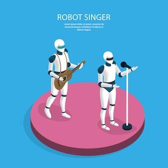 Banda de robôs criativos isométrica