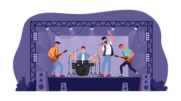 Banda de rock em palco aberto, músicos isolados tocando guitarras
