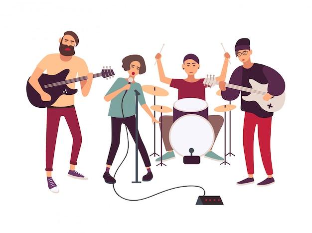 Banda de rock indie tocando no palco ou ensaiando.