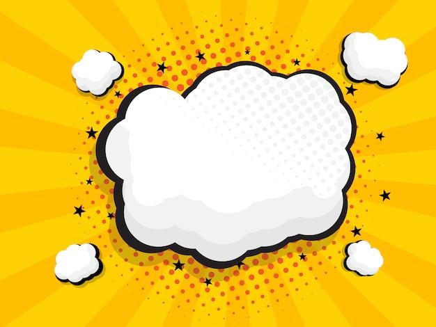 Banda desenhada de bolha do discurso em branco, fundo pop art