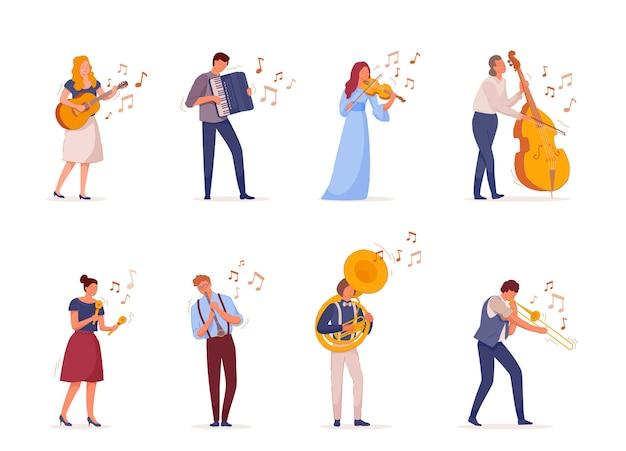Banda musical de violoncelista e outros músicos
