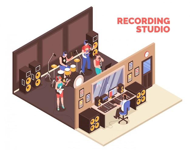 Banda tocando instrumentos musicais e cantando no estúdio de gravação 3d isométrico