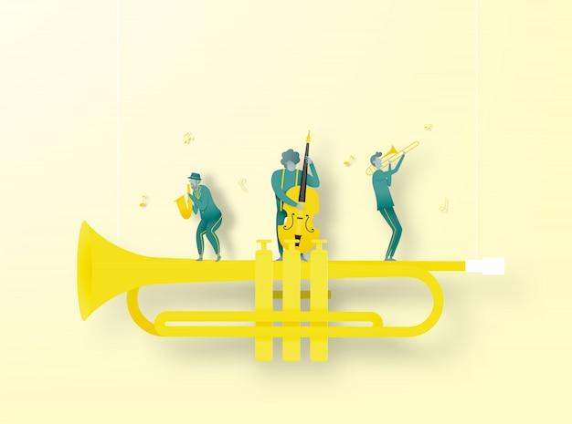 Banda tocar música jazz em estilo de arte de papel