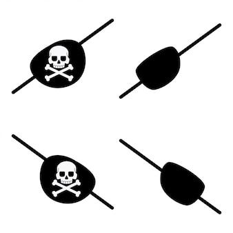Bandagem de olho de pirata preto com uma caveira e ossos cruzados para os olhos esquerdo e direito