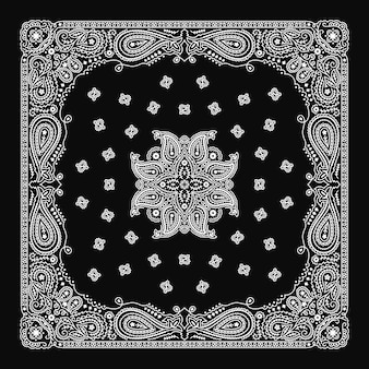 Bandana paisley ornamento padrão clássico vintage preto e branco design
