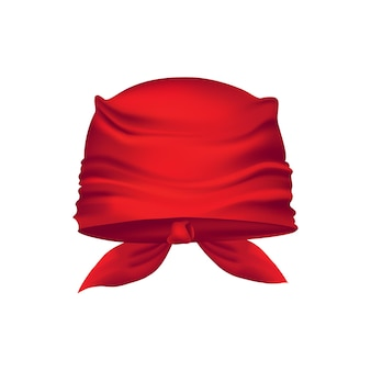Bandana vermelha realista na cabeça.