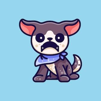 Bandana vestido de cão angry para etiqueta do logotipo do ícone de personagem e ilustração