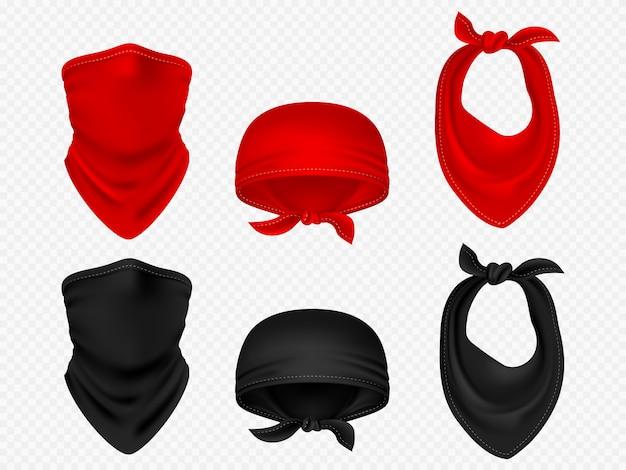 Bandanas de cabeça, lenço de pescoço e conjunto de vetor realista