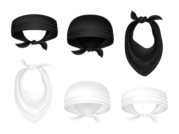 Bandanas em preto e branco e lenços de motoqueiro