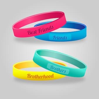 Bandas coloridas de amizade realistas