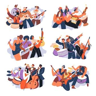 Bandas musicais tocando músicas em concurso ou cena