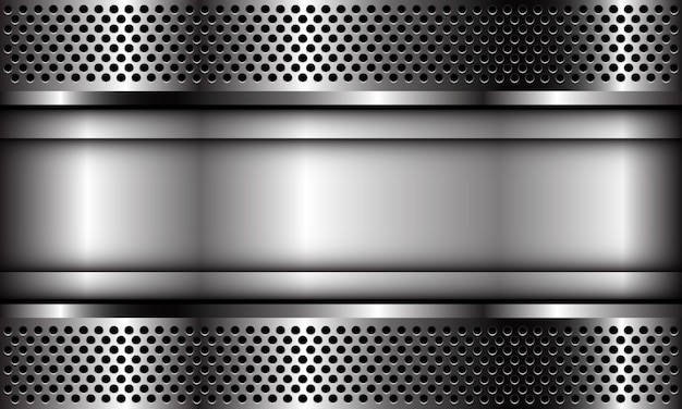 Bandeira abstrata da placa de prata no fundo industrial futurista luxuoso moderno do projeto moderno do teste padrão da malha do círculo do metal.