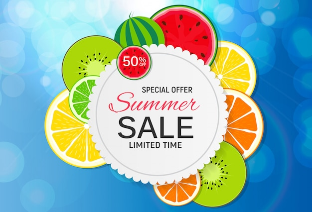 Bandeira abstrata da venda do verão com frutas frescas. ilustração vetorial