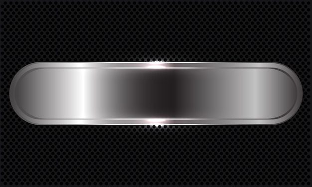 Bandeira abstrata de prata sobreposta no círculo preto