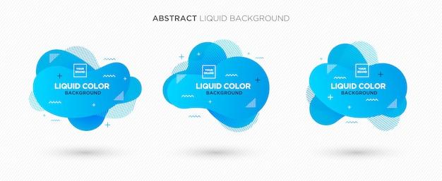Bandeira abstrata moderna do vetor do líquido ajustada em cores corais azuis