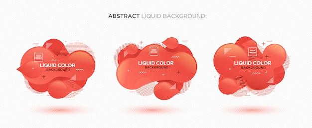 Bandeira abstrata moderna do vetor do líquido ajustada em cores vivas do coral