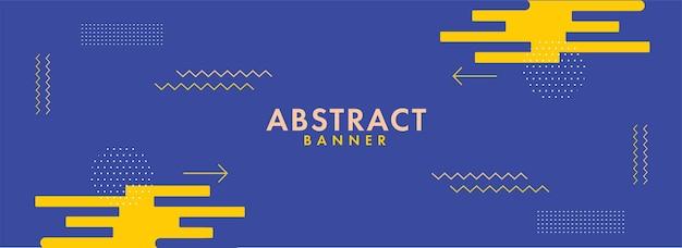 Bandeira abstrato ou design de cabeçalho na cor azul e amarelo.