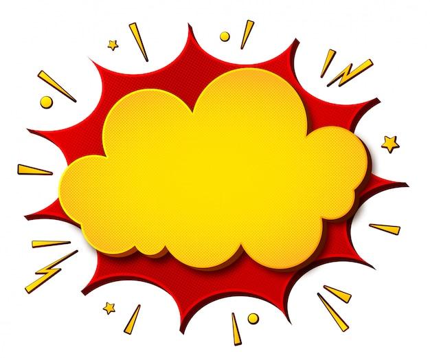 Bandeira amarelo-vermelha dos desenhos animados da banda desenhada e fundo branco. lança de bolhas do discurso