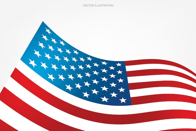 Bandeira americana abstrata no fundo branco.