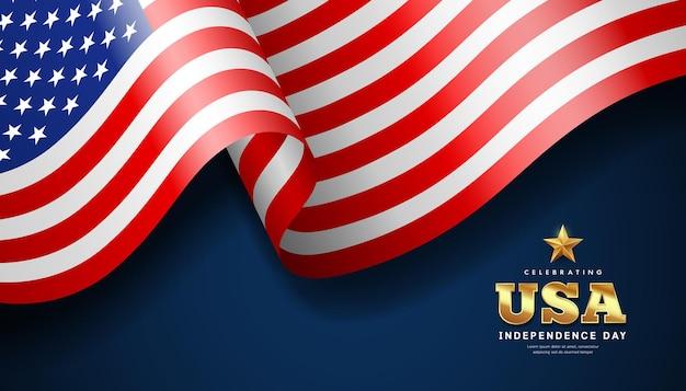 Bandeira americana acenando, dia da independência