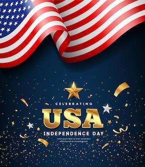 Bandeira americana acenando o dia da independência com texto dourado e design dos eua em fundo azul escuro ilustração vetorial