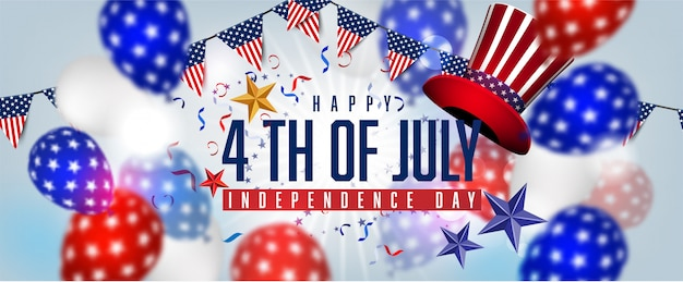 Bandeira americana balões decoração 04 de julho celebração dia da independência venda promoção banner compras on-line
