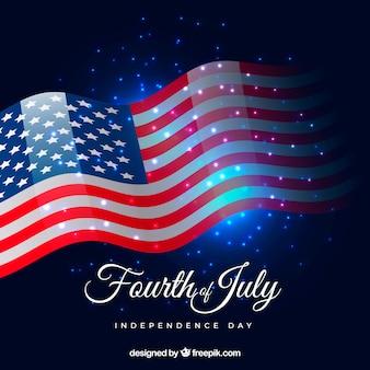 Bandeira americana, com, brilhante, estilo