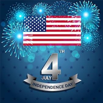 Bandeira americana com fogo de artifício para o dia da independência dos eua