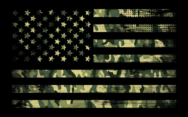 Bandeira americana com fundo verde camo