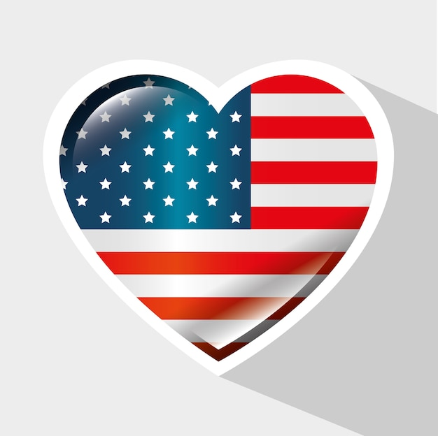Bandeira americana com moldura em forma de coração