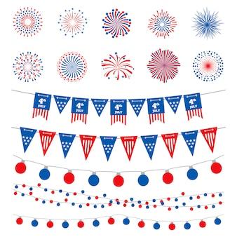 Bandeira americana cor banners, guirlandas e fogos de artifício vector coleção.