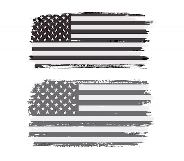 Bandeira americana de grunge preto e branco