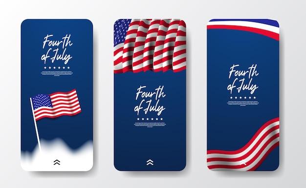 Bandeira americana de mídia social para a independência da américa eua, dia 4 de julho com fundo azul