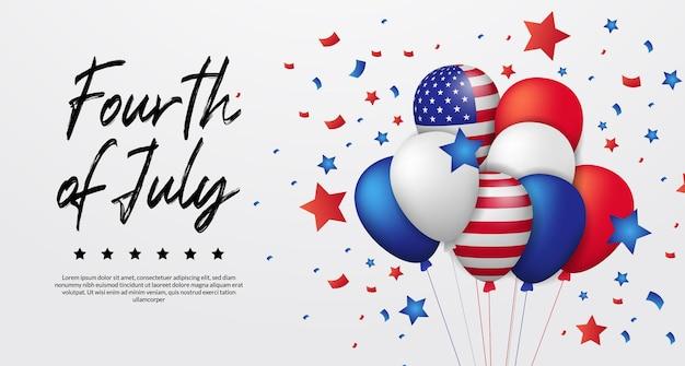 Bandeira americana do balão colorido de hélio 3d com confete e estrela voando para o banner do dia da independência americana 4 de julho