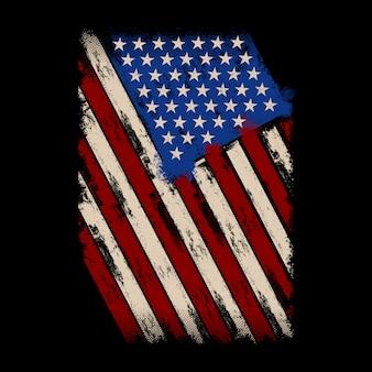 Bandeira americana do estilo da aflição do fundo