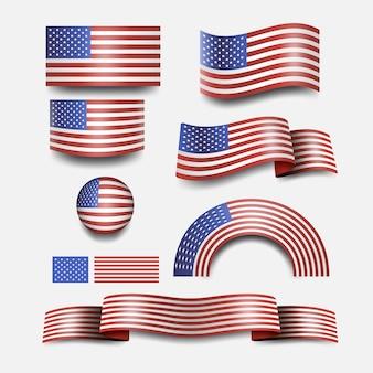 Bandeira americana e desenho da bandeira do botão dos eua