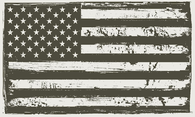 Bandeira americana grunge preto e branco