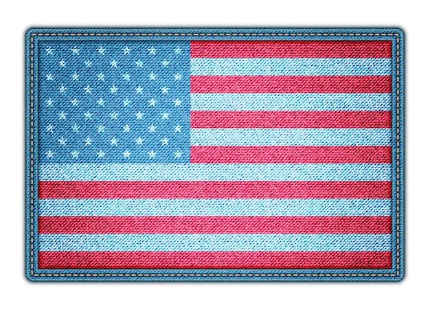 Bandeira americana na textura jeans