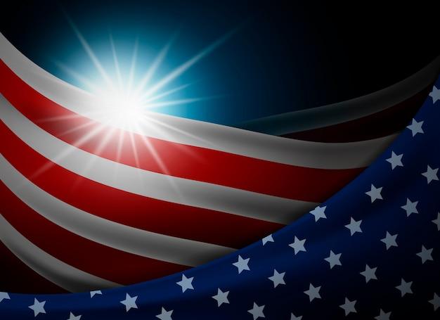 Bandeira americana ou eua com luz de fundo