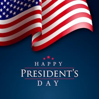 Bandeira americana realista do dia do presidente